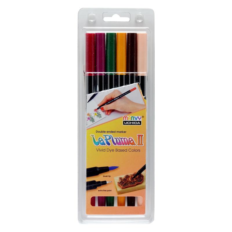 MARVY dvipusiai spalvoti flomasteriai Le Plume II Victorian 6 vnt