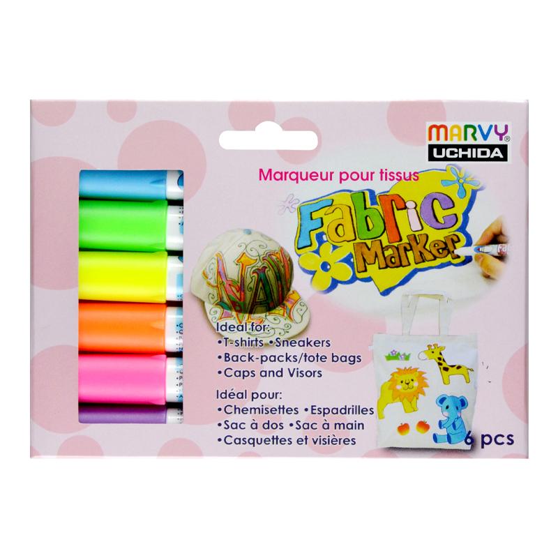 MARVY flomasteriai šviesių audinių dekoravimui Fabric Marker Primary