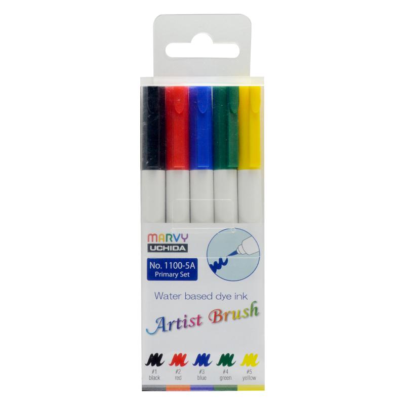MARVY flomasteriai teptukiniu antgaliu Artist Brush Primary