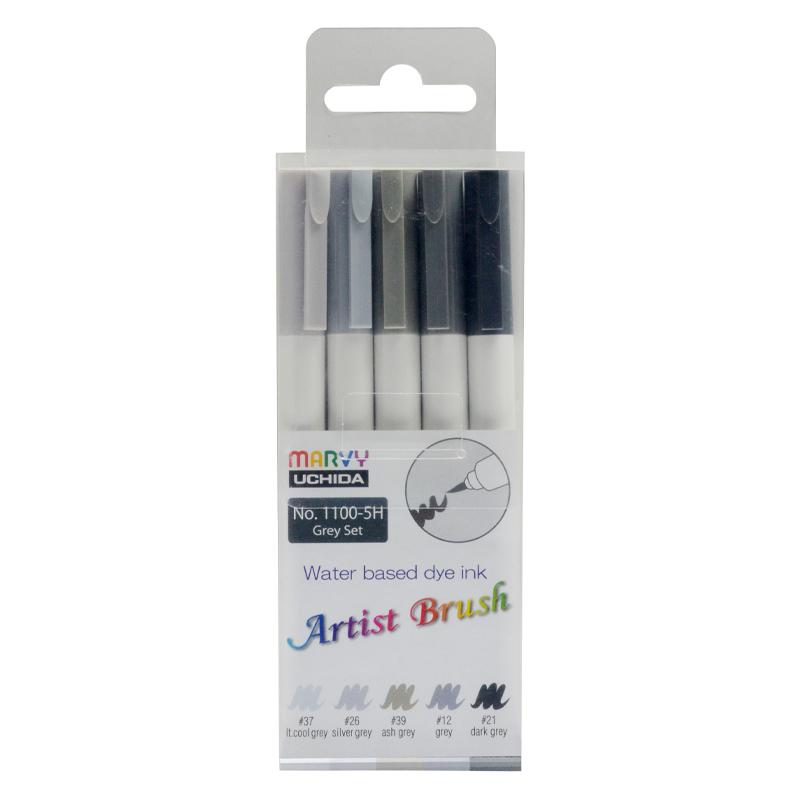 MARVY flomasteriai teptukiniu antgaliu Artist Brush Grey